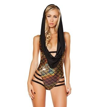 Black/Gold Mermaid Hooded Strapped Bodysuit