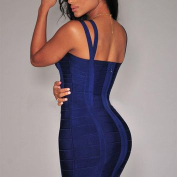 Navy-Blue Double Straps Arched Bandage Dress