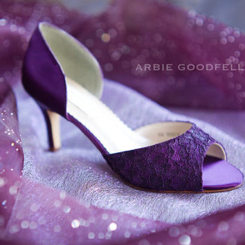Wedding Shoes - Aubergine Shoe  Lace Shoes - Purple Shoes  Purple Lace Shoe - Purple Wedding - Arbie Goodfellow Shoes - Lace Shoe - Parisxox