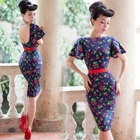 Sweet Cherry Print Navy Slim Backless 50's Style Dress