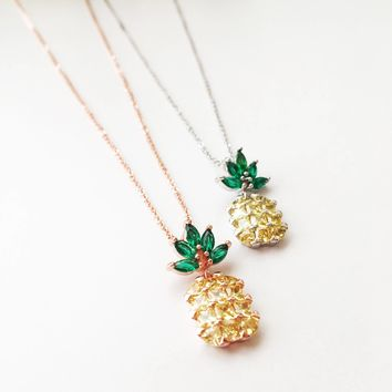 Pineapple necklace, dainty necklace, pineapple charm necklace, bridesmaid necklace