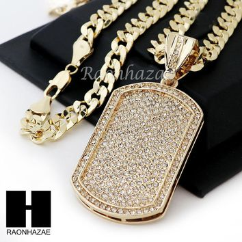 HIP HOP ICED OUT DOG TAG PAVE PENDANT DIAMOND CUT CUBAN LINK CHAIN NECKLACE N38