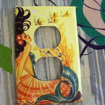mermaid outlet switch plate retro vintage by buckaroosmercantile