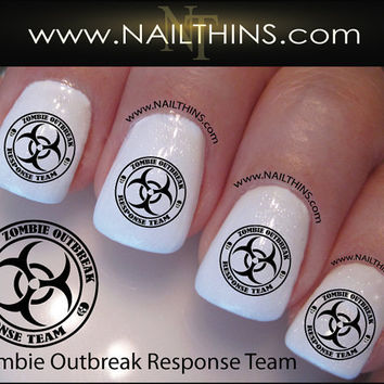 Zombie Nail Decal Outbreak Response Team Nail Designs by NAILTHINS