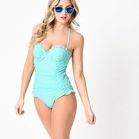 Betsey Johnson 1950s Pin Up Aqua Mist Ruched Halter One Piece Swimsuit