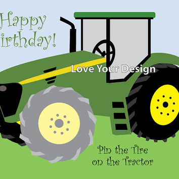 Farm Tractor - Pin the Tire on the Tractor Birthday party game- INSTANT DOWNLOAD you Print jpeg files