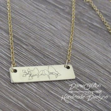 Bird Necklace, Bird Jewelry, Bird Gift, Gold Bar Necklace, Custom Name Necklace, Personalized Bar Necklace, Gifts for Her, Gift for Mom