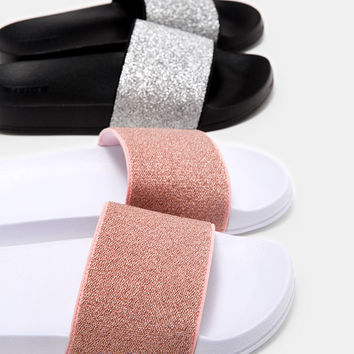 Flat shimmer slides - Special Prices - Bershka United States