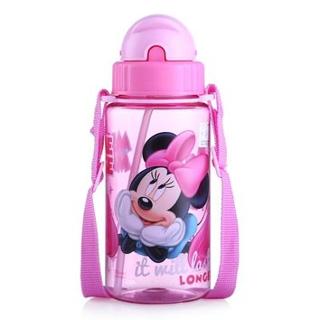 Disney 400ml Children Water Bottle PC Mickey Mouse Kids straw Baby water Cartoon Plastic Water Tumbler  Kids Bottle