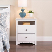 Two Drawer Nightstand With One Open Cubby Stylish White Finish Bedroom Furniture