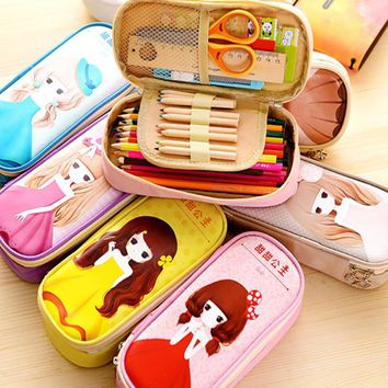 Korean simple girl pencil case large capacity children pencilcase princess cute small school students kawaii stationery pen case