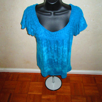 Pleated scoop neck, Extra Small, short sleeves, Elle upcycled ladies top. Teal. Women's Cotton, machine wash, tumble dry. Resist dyed method