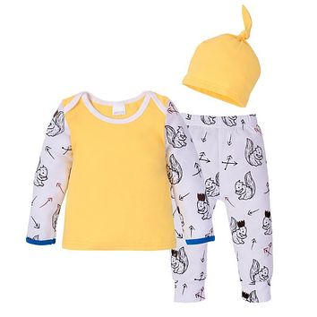 3pcs Newborn Clothes Set Baby Boy Girl Arrow Animal Squirrel Print Long Sleeve T-shirt + Pants + Hat Outfits Kids Clothing Set