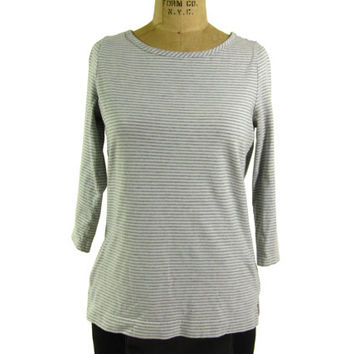 Vintage Striped Breton Top - Grey White T-Shirt Boatneck Preppy - Women's Size Small Sm S - Sale