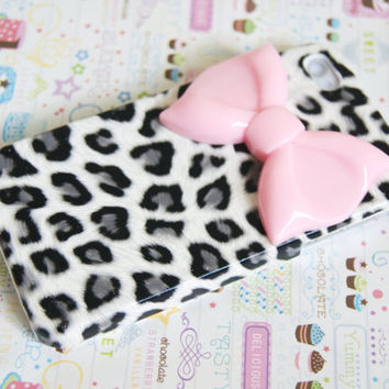 Grey Leopard Cheetah Print with Large Pink Bow by puredelusions