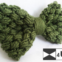 Green Hand Knitted Bow Tie Real Crochet Bow Tie Dickie Bow Bowtie Wedding Bow Tie Groomsmen Bow Tie Man Men Lady Gift Fancy BowTie4You