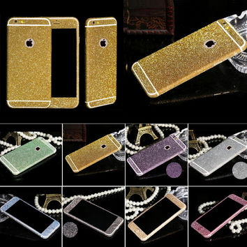 Hot Sellig Full Body Glitter for iPhone 4 4s 5 5S 6 6s Shiny Phone Sticker Matte Screen Protector Sparkling Diamond Film