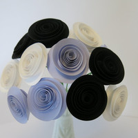 "Black, lilac & white paper flower bouquet purple 1.5"" roses floral arrangement wedding decor bridal party decoration shower centerpieces"
