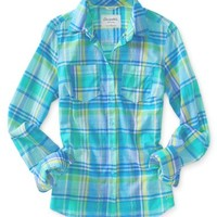 Long Sleeve Hawaiian Plaid Woven Shirt