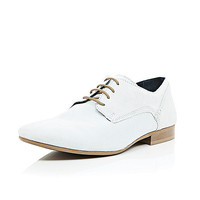 River Island MensWhite suede formal lace up shoes
