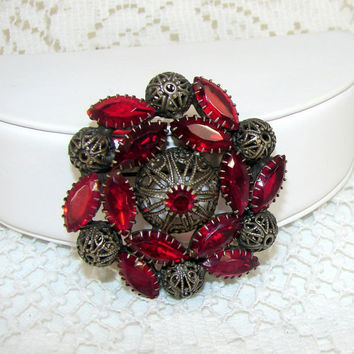 Old Red Rhinestone Brooch Prong Set Wreath Filigree Bead Setting Bridal Accessory Vintage Costume Jewelry