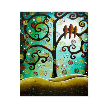 Bird Art Giclee Print - Folk Art Tree of Life Whimsical Art - Animal Art Emerald Green 11x14 Signed