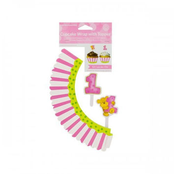 Girl's First Birthday Cupcake Wraps & Toppers (pack of 24)