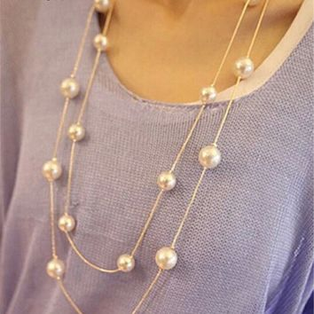 Simulated Pearl Jewelry Collier Necklace