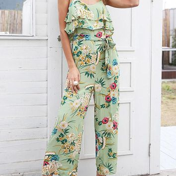 Floral Falbala Spaghetti-neck Wide Leg Long Jumpsuits