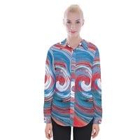Red And Blue Rounds Womens Long Sleeve Shirt