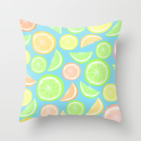Mixed Citrus - blue Throw Pillow by Lisa Argyropoulos