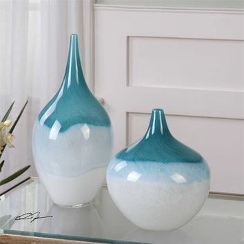 Uttermost Carla Teal White Vases, S/2 | Home Accents