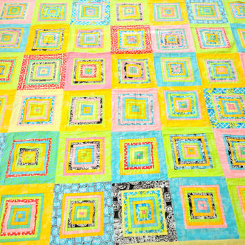 Vintage Geometric Quilt Handmade Quilt Queen Size Square Pattern Layered Quilt Modern Quilt