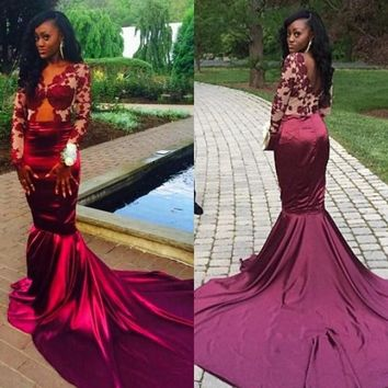 2017 Sexy Burgundy Long Sleeves Prom Dresses Mermaid Style Vintage Lace Arabic Dubai African Plus Size Formal Gowns Evening Wear