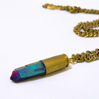 Nu Bambu — Rainbow Aura Quartz Bullet Necklace
