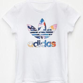 ADIDAS Floral Watercolor Trefoil Girls Tee | Graphic Tees