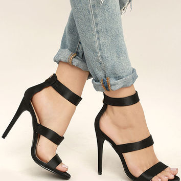 Bellanca Black Ankle Strap Heels