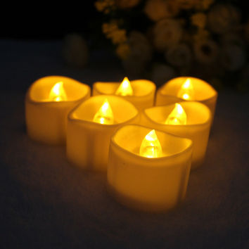 6pcs Battery Operated Flameless Votive Flickering LED Candles Tea Light Wedding Holiday Decor