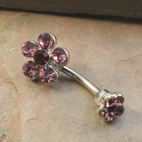 Tanzanite Purple Crystal Daisy Flower Belly Button Jewelry Ring