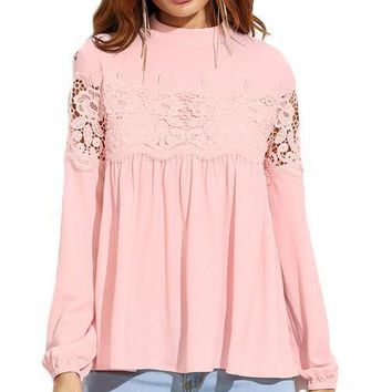 Pink Mock Neck Lace Applique Top Women Long Sleeve Shirt Fall Loose Keyhole Blouse