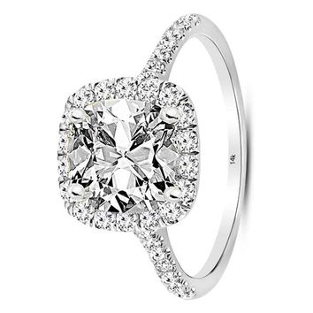 .1.27 Carat GIA Certified 14K White Gold Halo Cushion Cut Diamond Engagement Ring (0.52 Ct I Color VS1 Clarity Center)
