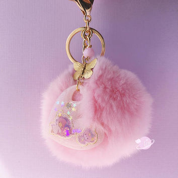 Kawaii Pastel Pom Keychain with Hello Kitty or Little Tein Stars charm, kawaii decoden keychain, pastel keychain, kawai fur pom keychain