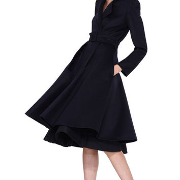 Belted Full-Skirted Coat by Oscar de la Renta Now Available on Moda Operandi
