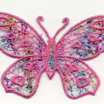 BUTTERFLY FUCHSIA  Beautiful Details Iron or Sew On patch by Cedar Creek Patch Shop on Etsy