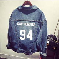 Fashion vintage BTS denim jacket womenswear letter print cut out jeans jackets and coats 2016 spring new pockets chaquetas mujer