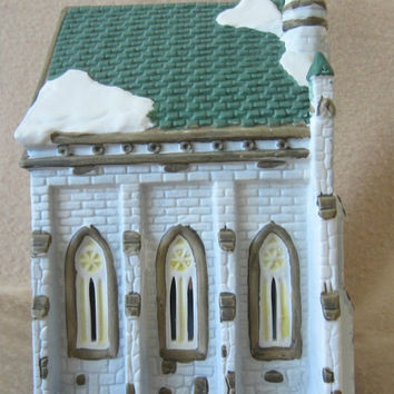 Vintage Dicken's Collectibles Victorian Series Lighted Rustic Church, Christmas Village, Holiday Display, Decoration, Mid 90's, Festive, Fun