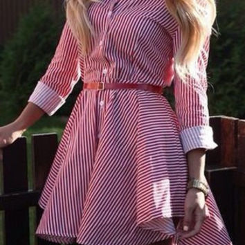 Shirt Collar Long Sleeves Striped Asymmetrical Dress