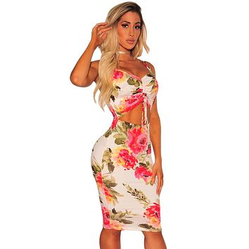 new Vestidos De Festa Woman Clothes night Fashion club wear Valentine's Day party Sassy Ruched Cut out Front Floral Dress 610135