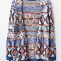 Unique Rhombus Long Knit Cardigan