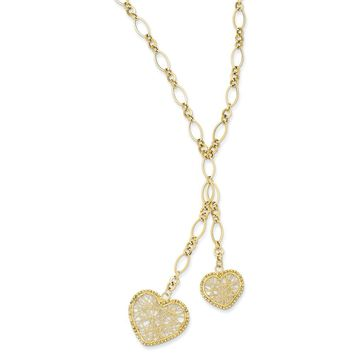 14K Yellow Gold Adjustable Heart Drop Necklace 16 Inch